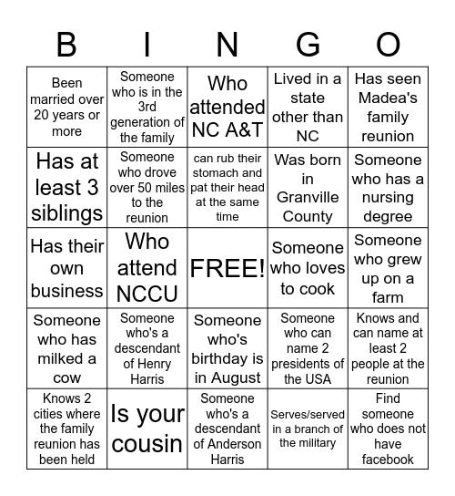 Harris Family Bingo Card