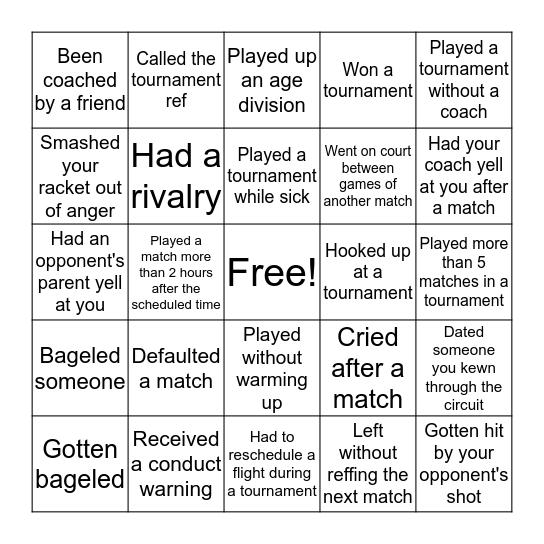 US Squash Player Bingo Card