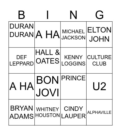80's HITS Bingo Card