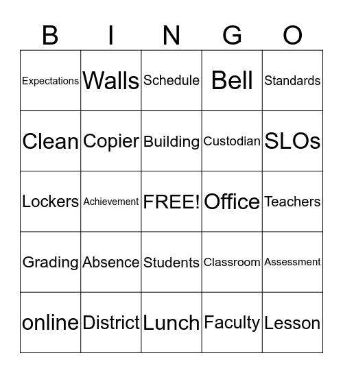 Faculty/Staff Meeting BINGO! Bingo Card