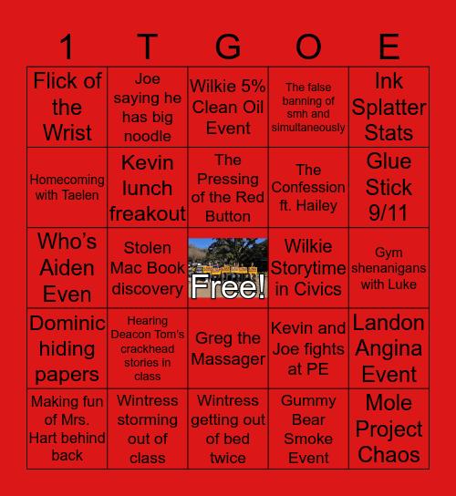 1TGO Event Bingo Card