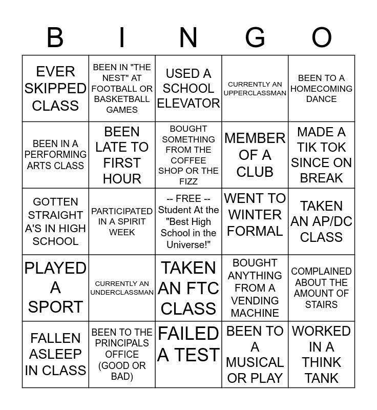 Joplin High Bingo! Bingo Card