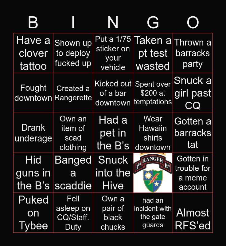 1st Ranger Battalion Bingo Card