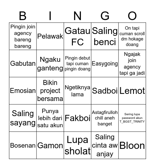 STMJ CHECK Bingo Card