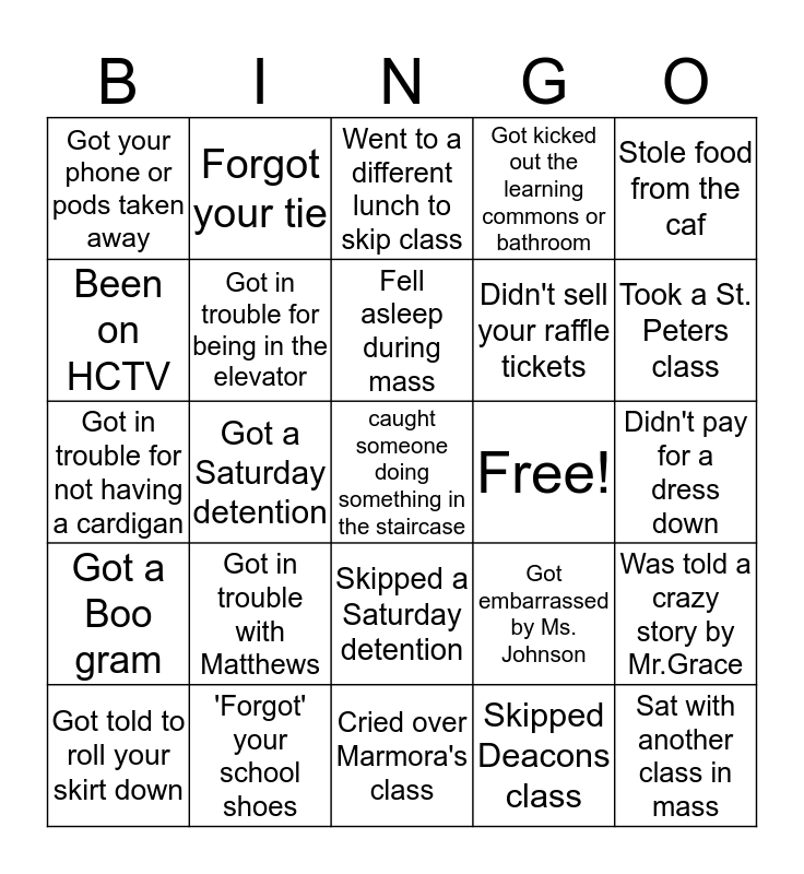 Hudson Catholic Bingo Card