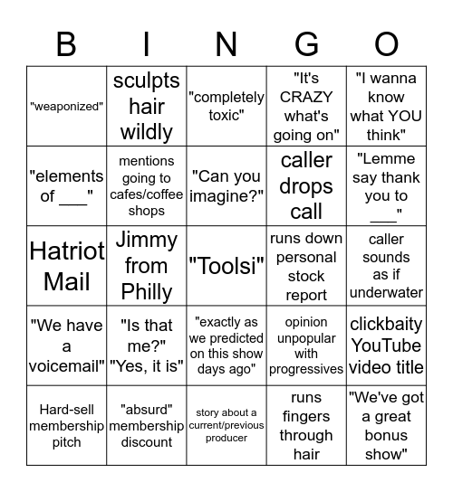 David Pakman Bingo Card