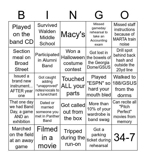 Panther Band Bingo Card