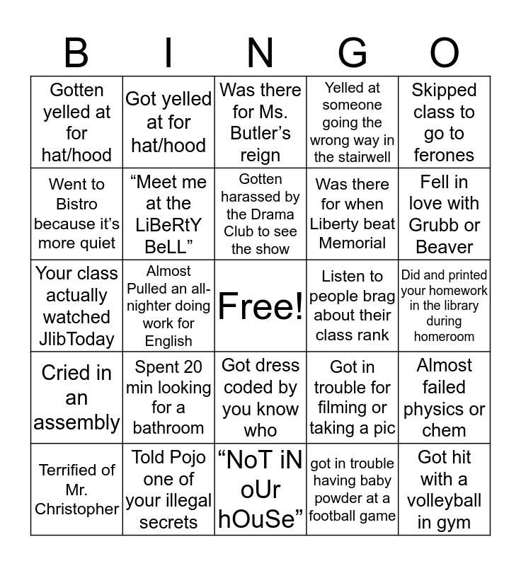 JLHS Bingo Card