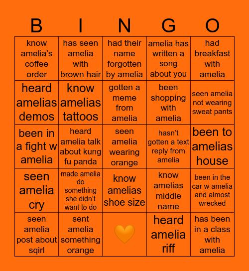 amelia's bingo Card