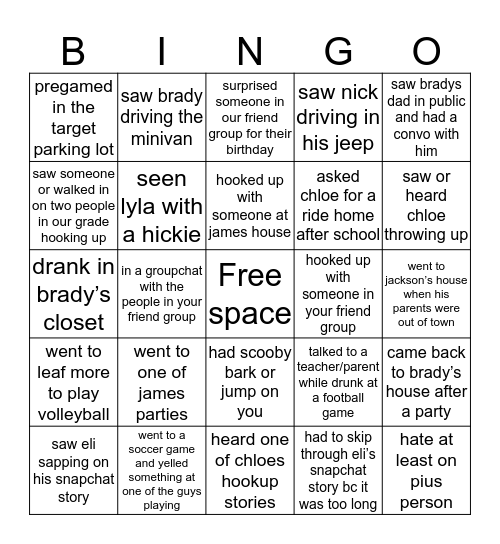 junior friend group bingo Card
