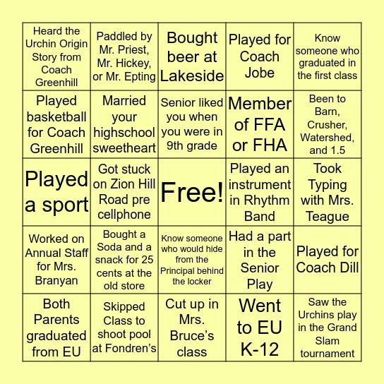 THROWBACK Urchin Bingo Card