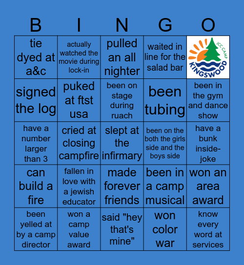 Camp Kingswood Bingo Card