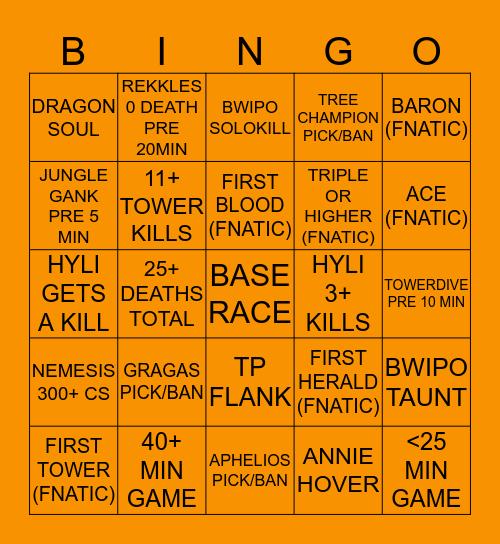 FNC vs OG Game 4 Bingo Card