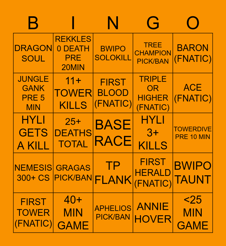 FNC vs OG Game 4 Bingo Card