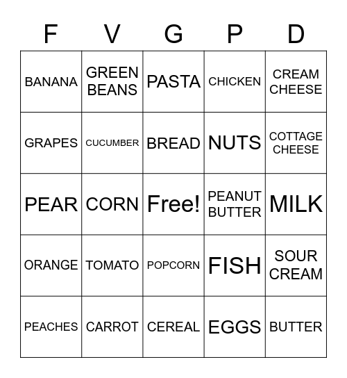 FOOD GROUP Bingo Card