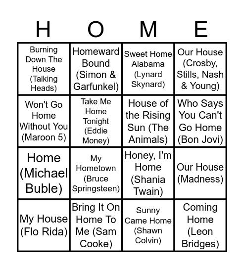 Home House Homecoming Bingo Card