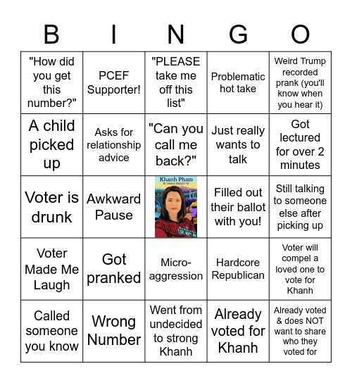 Phonebank Bingo! Bingo Card