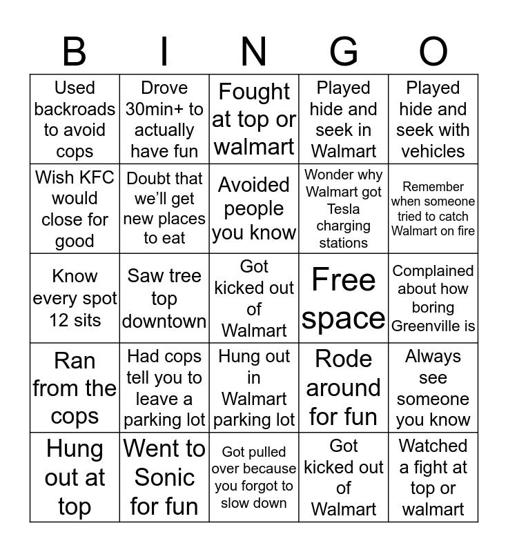 Greenville Bingo Card