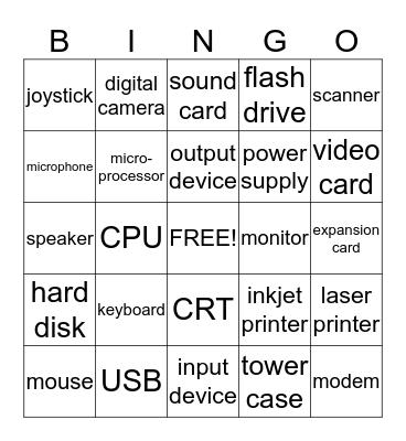 Computer Hardware Bingo Card