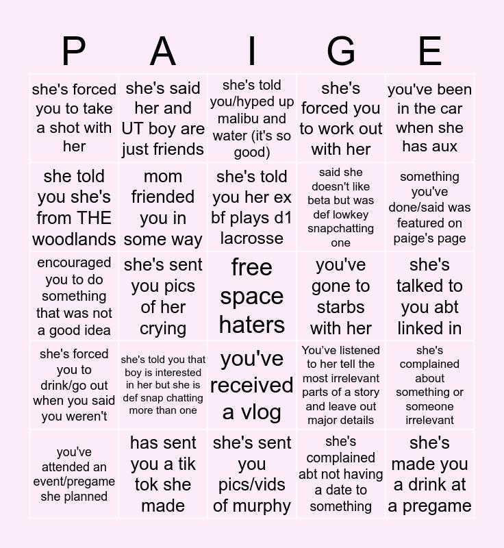 Paige Bingo Card