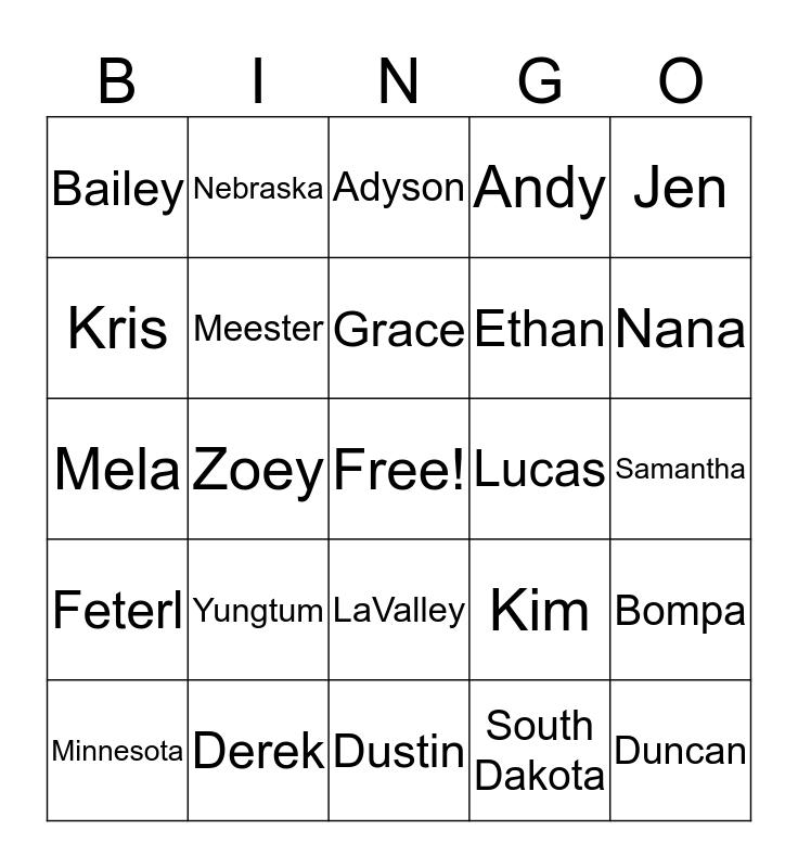 Meester Bingo Card