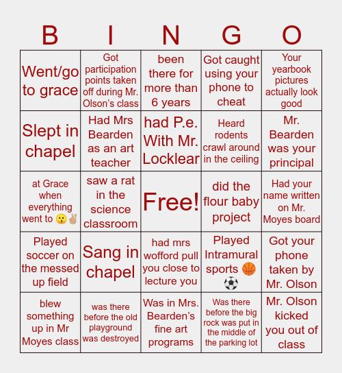 Grace Christian Academy Bingo Card