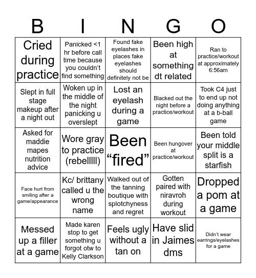 HOT SQUAD Bingo Card