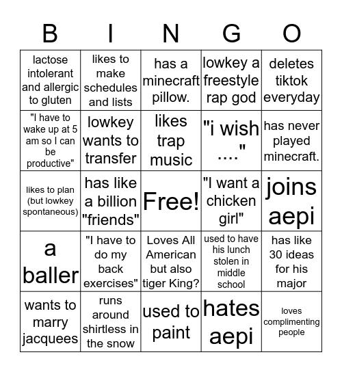 Adam bingo Card