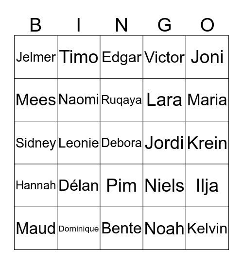 Namen Bingo E1A Bingo Card