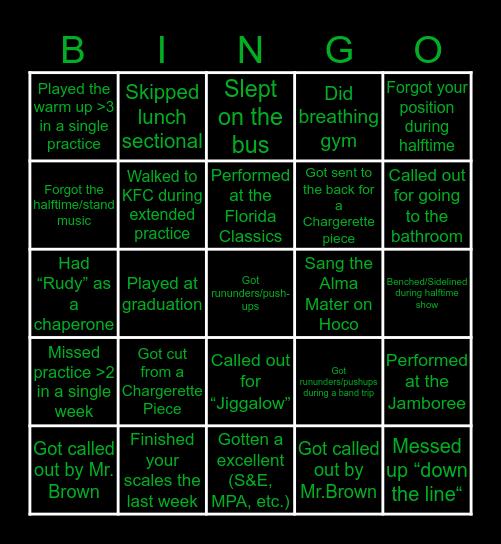 Chargersonic Band Bingo Card