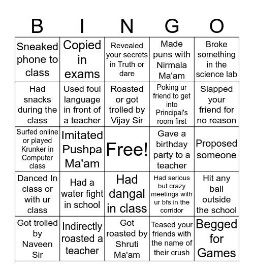 CGR Bingo Card