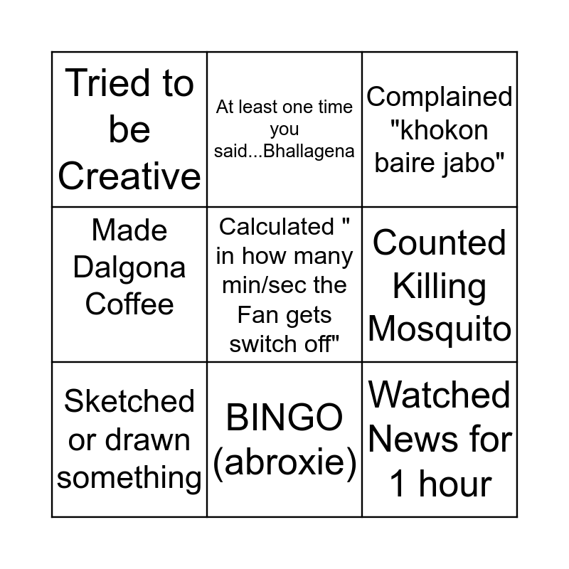 Quaranitine Bingo ( @_abroxie_) Bingo Card