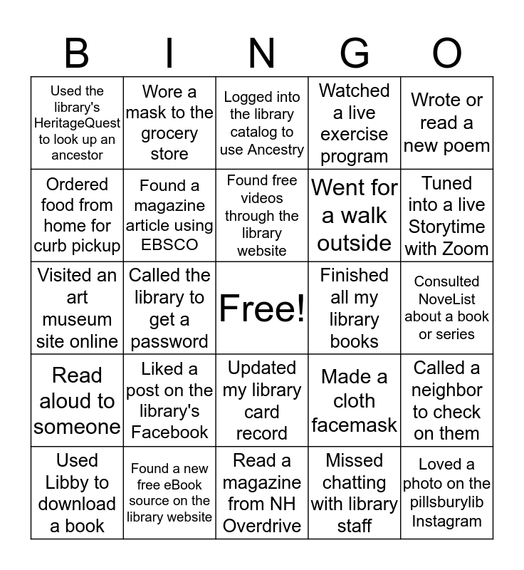 Warner Pandemic Library Bingo Card