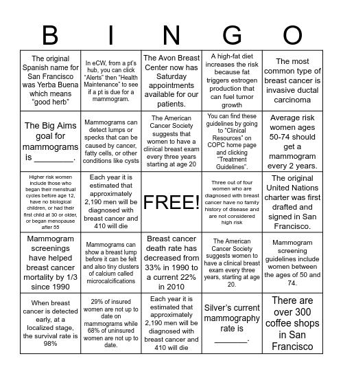 Mammogram Bingo Card