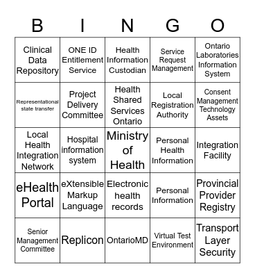 eHO Bingo Card