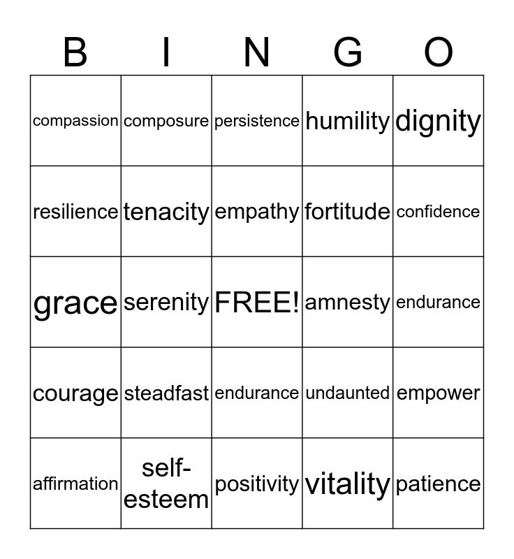 Affirmation Bingo Card