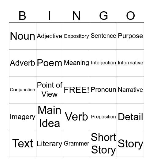Language Arts Bingo Card