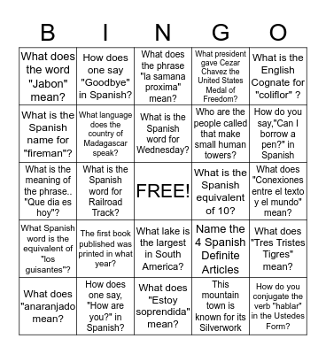 Read the Room Bingo Card