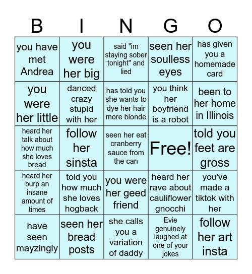 Evie May Bingo Card