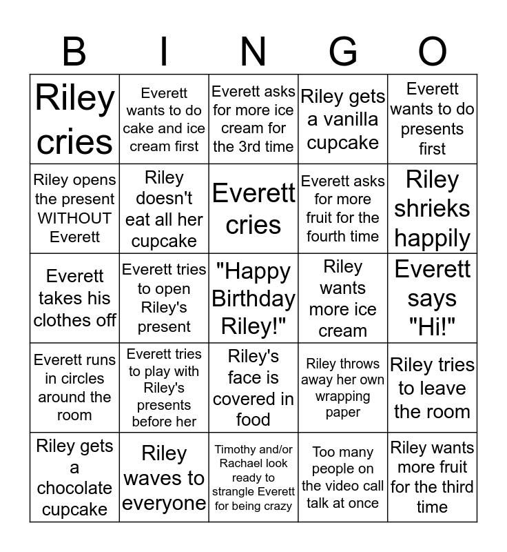 RILEY'S BIRTHDAY Bingo Card