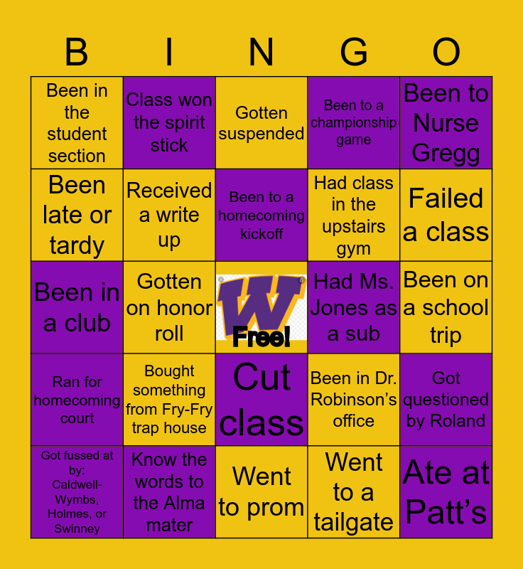 Wilson Bingo💜💛 Bingo Card