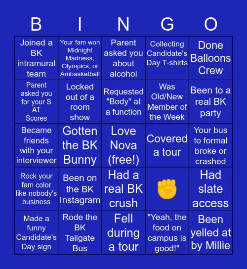 Blue Key Society Bingo Card