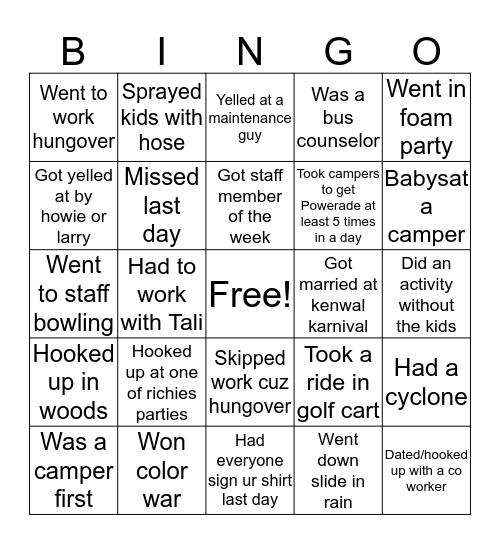 Kenwal Bingo Card