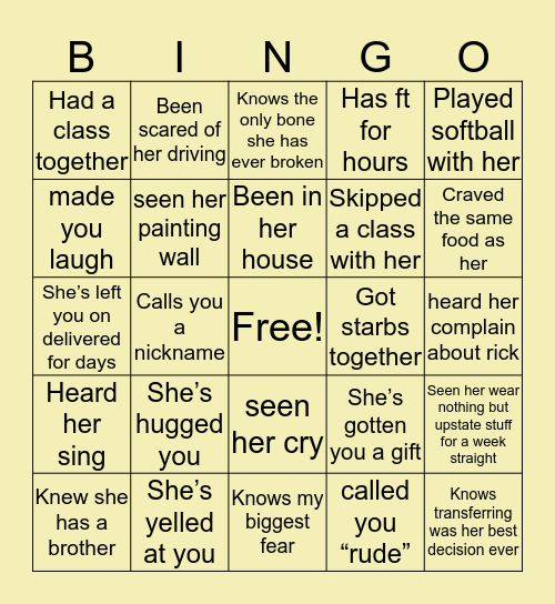 Payton Bingo Card