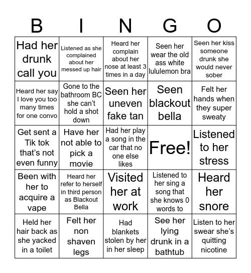 Bella Bingo Card