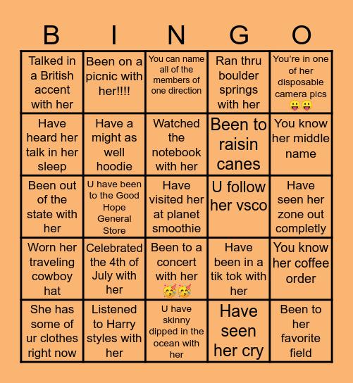 Maky Moo's Bingo Card