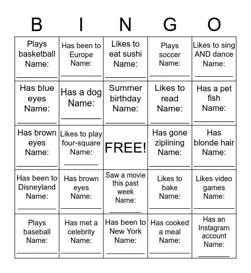People Bingo--Getting to Know You Bingo Card