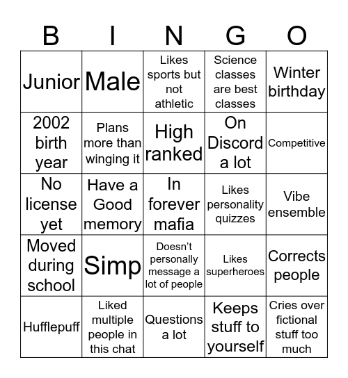 Braden's Similarities Bingo Card