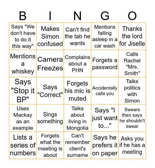 BP Bingo Card