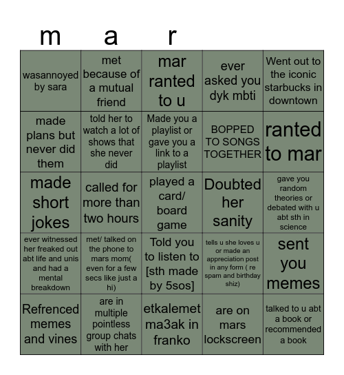mar friend bingo Card